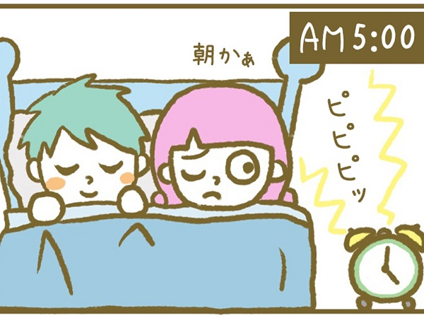 漫画「宮崎に移住した農家の嫁日記」【第5話】絶対に起きたくないダンナ VS 絶対に起こしたいヨメ