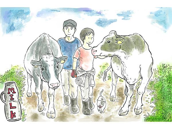 漫画「牛川いぬおの酪農日記」酪農と牛乳
