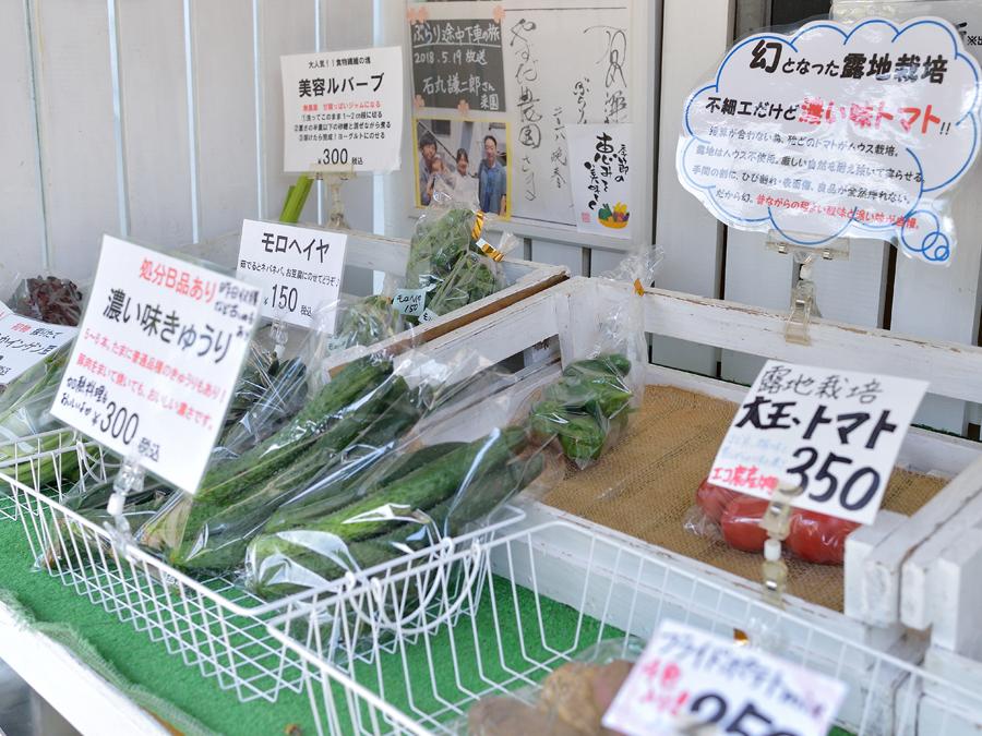 自宅敷地内には直売所を設置。近所の方が訪れ、採れたての野菜を購入していきます