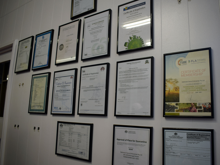 Certification certificates line this wall, including certified halal, which is also receiving attention in Japan in recent years
