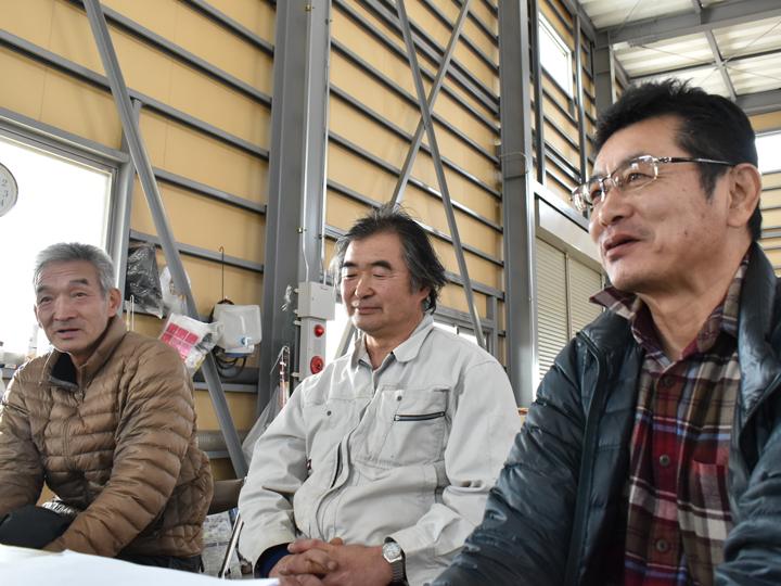 被災した仲間のこと、営農再開のこと、地域農業の未来等について熱い思いを語る3人