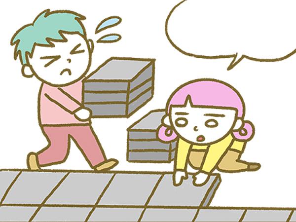 漫画「宮崎に移住した農家の嫁日記」【第124話】コンクリート板の敷き方