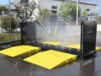 簡単でコンパクト!農業向けの移設可能な車両消毒装置や環境配慮型の排水処理システム