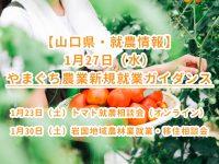 【山口県・就農情報】やまぐち農業新規就業ガイダンス(1/27)および1・2月のイベント情報
