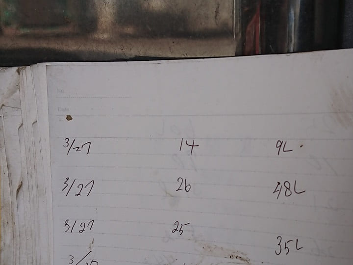 ノートの給油記録を転記する