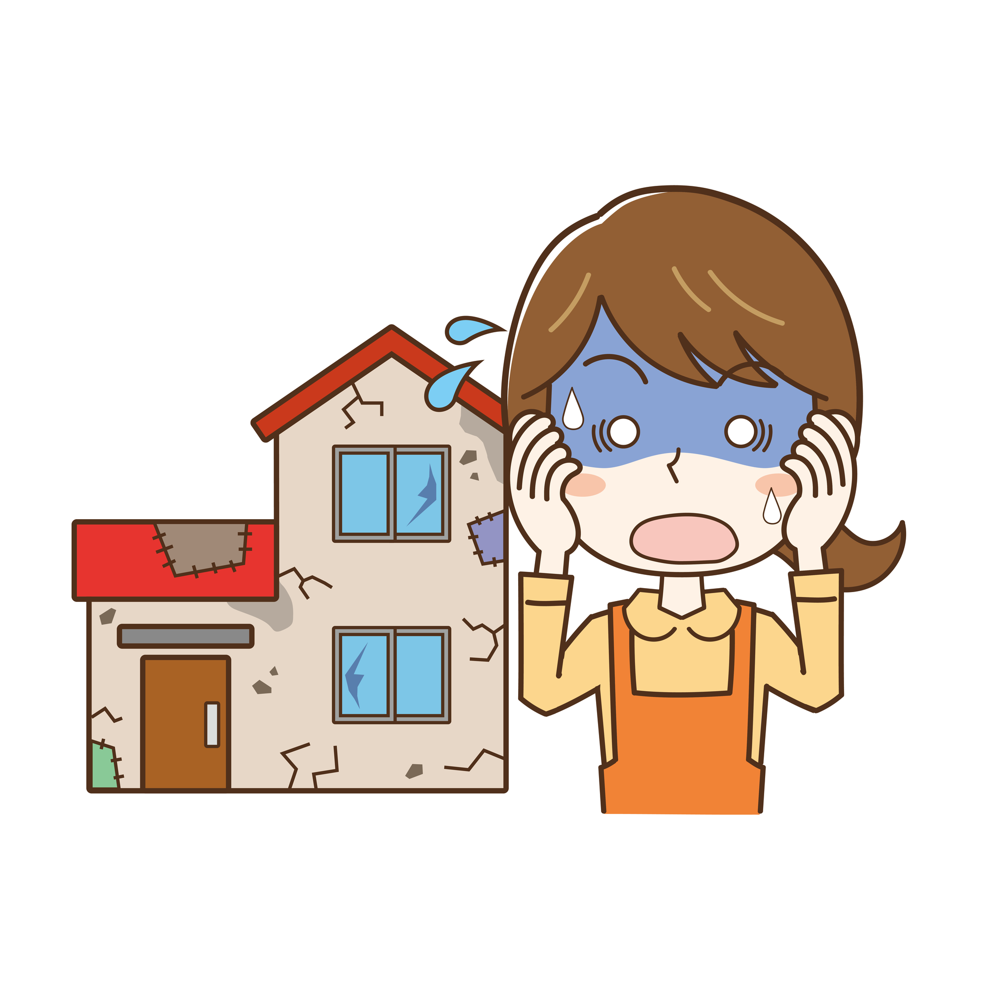 ボロボロの家に焦る女性