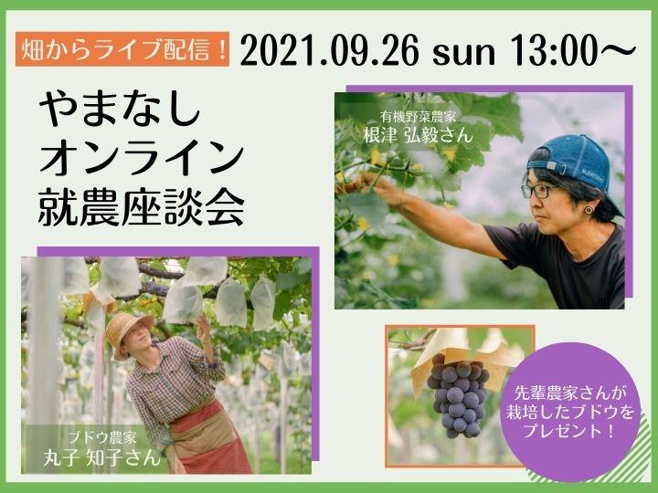 【畑からライブ配信!】9/26オンライン開催 『やまなしオンライン就農座談会』